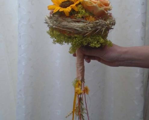 Hochzeit - Brautstrauss Sonnenblume mit Kornähren
