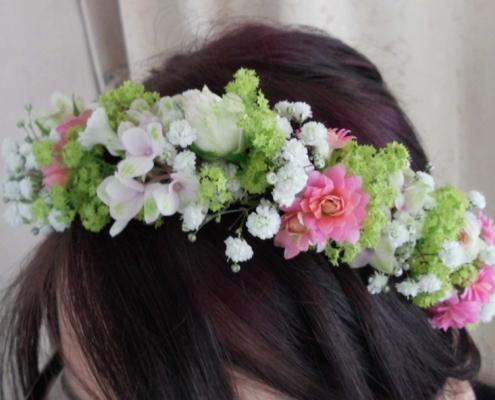 Hochzeit Haarkranz weiss rosa